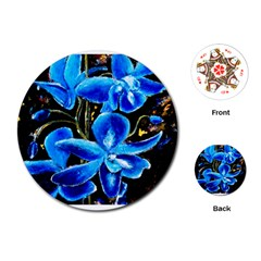 Bright Blue Abstract Flowers Playing Cards (round)
