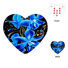 Bright Blue Abstract Flowers Playing Cards (heart)