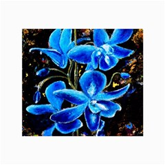 Bright Blue Abstract Flowers Collage 12  x 18
