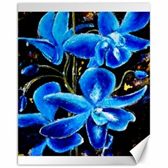 Bright Blue Abstract Flowers Canvas 16  X 20
