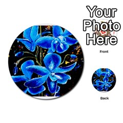 Bright Blue Abstract Flowers Multi-purpose Cards (Round)