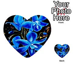 Bright Blue Abstract Flowers Multi-purpose Cards (Heart)