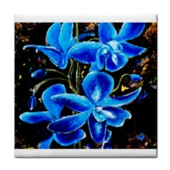 Bright Blue Abstract Flowers Face Towel