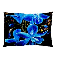Bright Blue Abstract Flowers Pillow Cases
