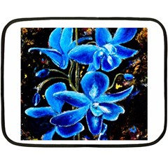 Bright Blue Abstract Flowers Fleece Blanket (Mini)
