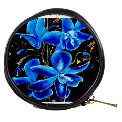 Bright Blue Abstract Flowers Mini Makeup Bags
