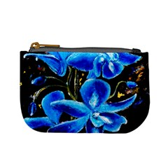 Bright Blue Abstract Flowers Mini Coin Purses