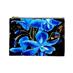 Bright Blue Abstract Flowers Cosmetic Bag (large)