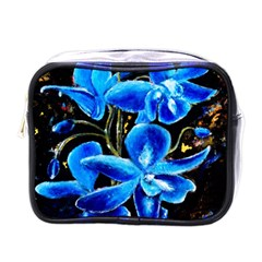 Bright Blue Abstract Flowers Mini Toiletries Bags