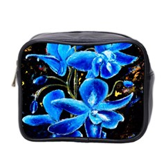 Bright Blue Abstract Flowers Mini Toiletries Bag 2 Side
