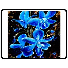 Bright Blue Abstract Flowers Fleece Blanket (large)