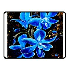 Bright Blue Abstract Flowers Fleece Blanket (small)