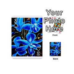 Bright Blue Abstract Flowers Playing Cards 54 (mini)