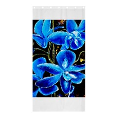 Bright Blue Abstract Flowers Shower Curtain 36  X 72  (stall)