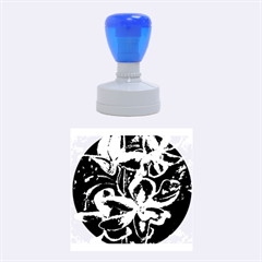 Bright Blue Abstract Flowers Rubber Round Stamps (medium)