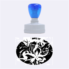 Bright Blue Abstract Flowers Rubber Oval Stamps