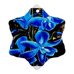 Bright Blue Abstract Flowers Ornament (Snowflake)
