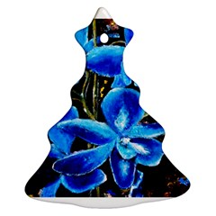 Bright Blue Abstract Flowers Christmas Tree Ornament (2 Sides)