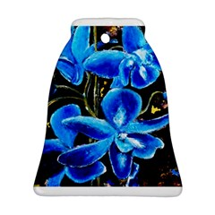 Bright Blue Abstract Flowers Bell Ornament (2 Sides)