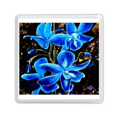 Bright Blue Abstract Flowers Memory Card Reader (square)