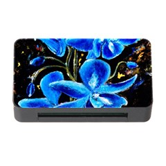 Bright Blue Abstract Flowers Memory Card Reader with CF