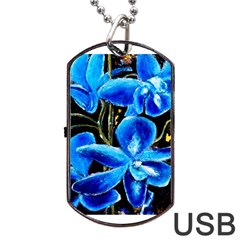 Bright Blue Abstract Flowers Dog Tag USB Flash (One Side)