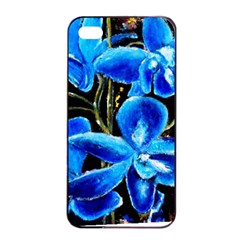 Bright Blue Abstract Flowers Apple iPhone 4/4s Seamless Case (Black)