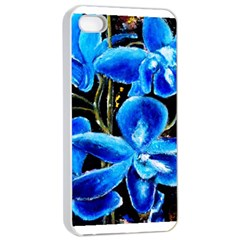 Bright Blue Abstract Flowers Apple Iphone 4/4s Seamless Case (white)