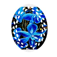 Bright Blue Abstract Flowers Ornament (oval Filigree)