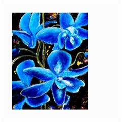 Bright Blue Abstract Flowers Small Garden Flag (Two Sides)