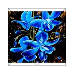 Bright Blue Abstract Flowers Acrylic Tangram Puzzle (6  x 6 )