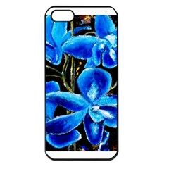 Bright Blue Abstract Flowers Apple Iphone 5 Seamless Case (black)