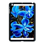 Bright Blue Abstract Flowers Apple iPad Mini Case (Black) Front