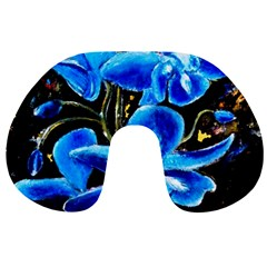 Bright Blue Abstract Flowers Travel Neck Pillows