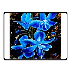 Bright Blue Abstract Flowers Double Sided Fleece Blanket (Small)