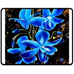 Bright Blue Abstract Flowers Double Sided Fleece Blanket (Medium)