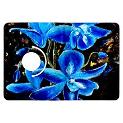 Bright Blue Abstract Flowers Kindle Fire HDX Flip 360 Case