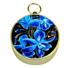 Bright Blue Abstract Flowers Gold Compasses