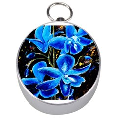 Bright Blue Abstract Flowers Silver Compasses