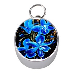 Bright Blue Abstract Flowers Mini Silver Compasses