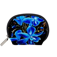 Bright Blue Abstract Flowers Accessory Pouches (small)