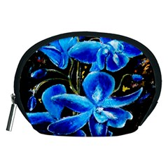 Bright Blue Abstract Flowers Accessory Pouches (medium)