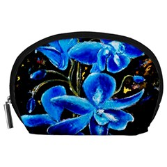 Bright Blue Abstract Flowers Accessory Pouches (large)