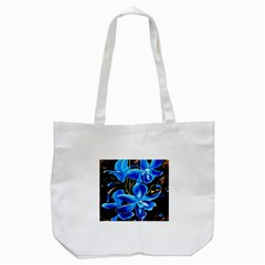 Bright Blue Abstract Flowers Tote Bag (white)