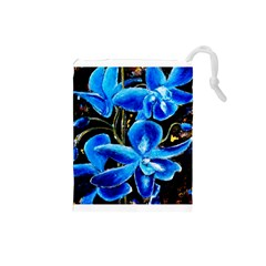 Bright Blue Abstract Flowers Drawstring Pouches (Small)