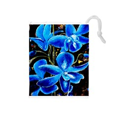 Bright Blue Abstract Flowers Drawstring Pouches (Medium)