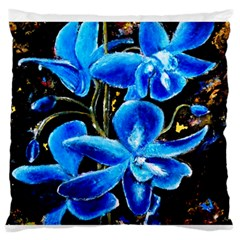 Bright Blue Abstract Flowers Large Flano Cushion Cases (One Side)