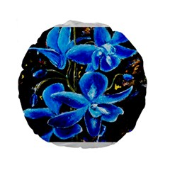 Bright Blue Abstract Flowers Standard 15  Premium Flano Round Cushions