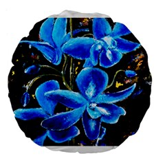 Bright Blue Abstract Flowers Large 18  Premium Flano Round Cushions