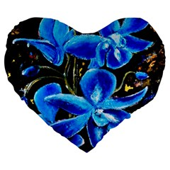 Bright Blue Abstract Flowers Large 19  Premium Flano Heart Shape Cushions